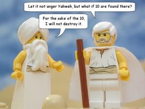 神ヤハウェとアブラハム(The Brick Testament から拝借)