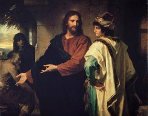 ハインリヒ・ホフマン作「キリストと金持ちの青年貴族」