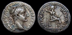ティベリウス皇帝の肖像が刻まれたデナリオン銀貨
